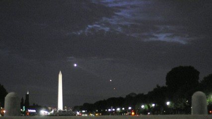 Washington Monument at Night Helicopter Flies By
