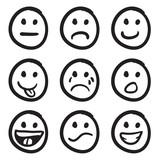 Cartoon Smiley Faces Doodles poster
