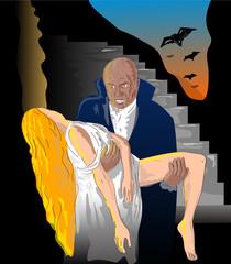 Black Dracula or vampire carrying his prey