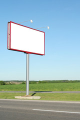 Billboard for advertisement on blue sky
