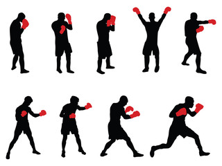 nine vector boxers with red gloves