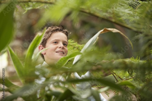 Boy Looking at Plants