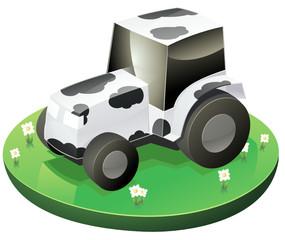 Tracteur vache dans son champ (détouré)