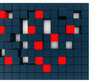 Abstract red and dark blue metallic cubes on a white