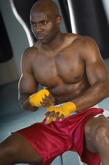 Boxer Taping Hands Before Fight