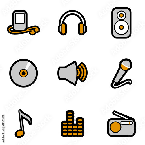 music object icon set