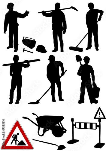 Bauarbeiter schwarz weiß  GamesAgeddon - Portfolio - 007 - Lizenzfreie Fotos, Vektoren und ...