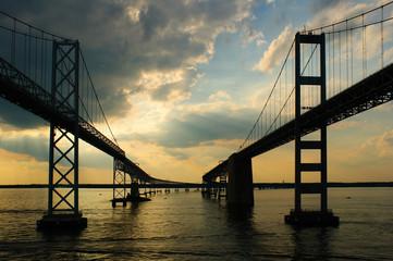 Passing under the Chesapeake Bay Bridges