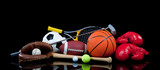 Fototapety Assorted Sports Equipment on Black