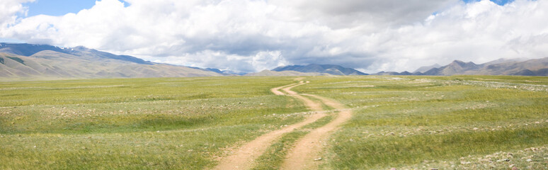 Road in the mountain steppes