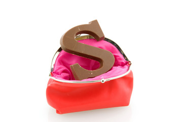 Red wallet with chocolate letter