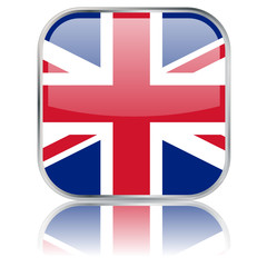 UK Square Flag Button (vector with reflection)