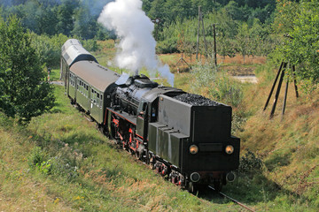 Old retro steam train passsing through polish countryside