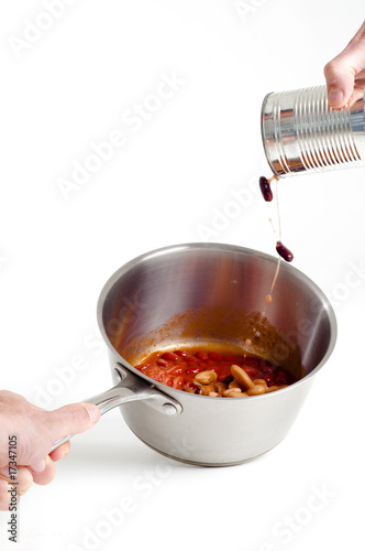 chilli beans and saucepan