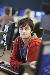 University student using computer