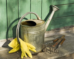 Garden tools on wooden working surface