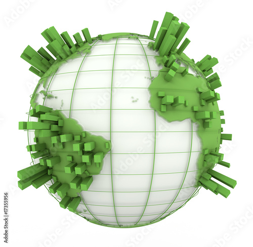 Earth Graph in green and white