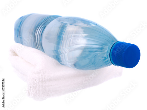 Towel and bottle of water