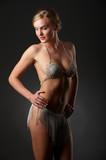 attractive blonde in her underwear from the rhinestone poster