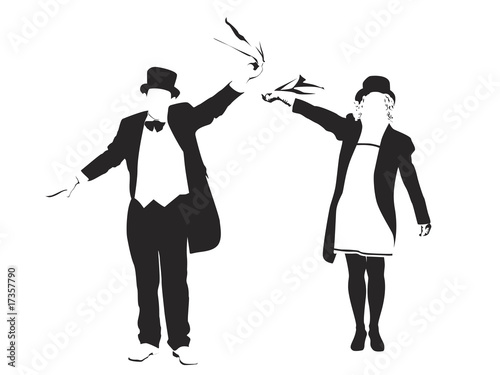 couple waving - 17357790