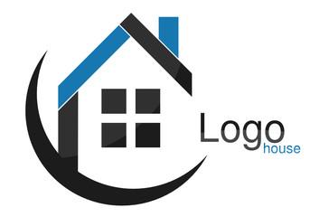 Logo maison quadrilatères carrés arc bleu gris