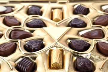 chocolate in box close up