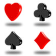 3D buttons with symbols of poker on white background