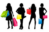 Fototapety silhouette girls shopping