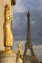 View of the Eiffel tower from Trocadero in Paris, France