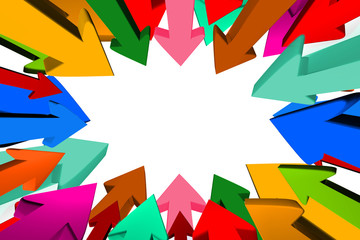 Many Multicolored arrows targeting to center.