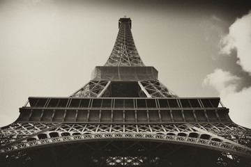 Sepia antique plate picture of the Eiffel Tower in Paris