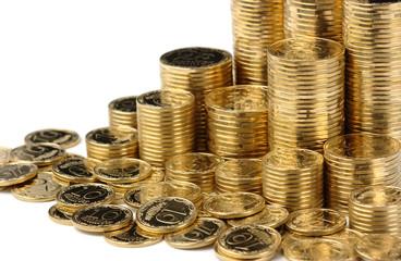 Closeup of golden coins