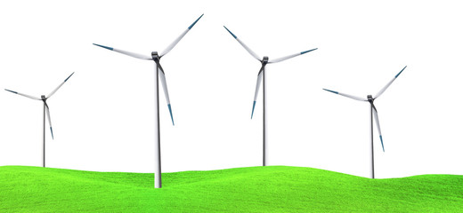 Windmill panorama, isolated