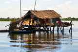 Typical House on the Tonle sap lake, between Siem Reap and Batta