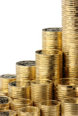 Closeup of a golden coins stacks