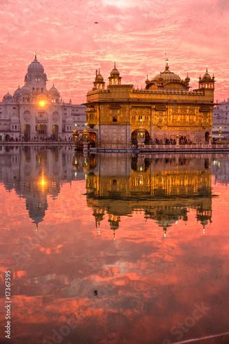 Golden Temple at sunset, Amritsar, Punjab, India. - 17367595