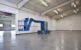 industrial elevated crane platform in empty warehouse poster