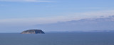Bristol Channel island Steep holm showing Welsh coastline poster
