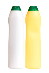 Plastic white and yellow bottles