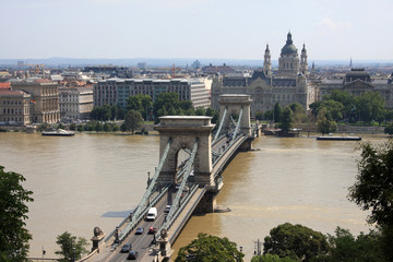 Beautiful view on Budapest and Chain Bridge
