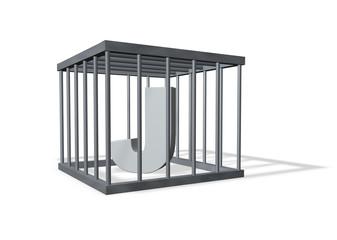 der buchstabe j in einem käfig