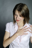 woman chest pain poster