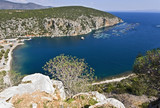 Scenic beach at Peloponnese peninsula in Greece poster
