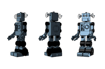 Three equal robotic toys