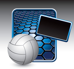 Volleyball on blue hexagon advertisment
