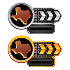 Texas icon on silver and gold arrow banners