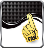 Fan foam hand on black checkered wave background poster