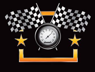 Racing checkered flags and speedometer in orange star ad
