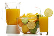 Orange juice and blender with fruit