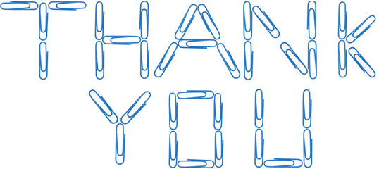 Thankk you red paper clip letters